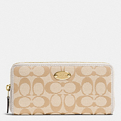COACH F53618 Accordion Zip Wallet In 12cm Signature IMITATION GOLD/LIGHT KHAKI/CHALK