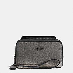 COACH DOUBLE ZIP PHONE WALLET IN METALLIC CAVIAR CALF LEATHER - ANTIQUE NICKEL/GUNMETAL - F53624