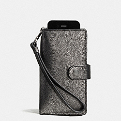 COACH F53627 Phone Clutch In Metallic Caviar Calf Leather ANTIQUE NICKEL/GUNMETAL