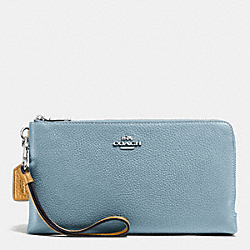 COACH F53634 Double Zip Wallet In Colorblock Leather SILVER/CORNFLOWER MULTI