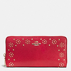COACH F53636 Border Stud Accordion Zip Wallet In Leather IMITATION GOLD/CLASSIC RED