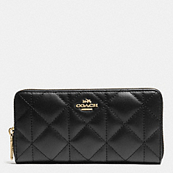 COACH F53637 Accordion Zip Wallet In Quilted Leather IMITATION GOLD/BLACK