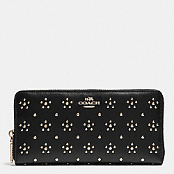 COACH F53638 All Over Stud Accordion Zip Wallet In Calf Leather IMITATION GOLD/BLACK