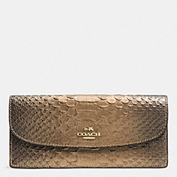 COACH F53641 Soft Wallet In Metallic Snake Embossed Leather IMITATION GOLD/GOLD