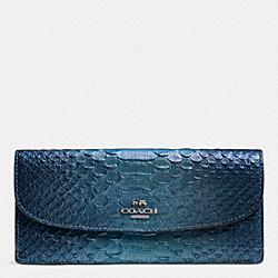 COACH F53641 Soft Wallet In Metallic Snake Embossed Leather ANTIQUE NICKEL/METALLIC BLUE