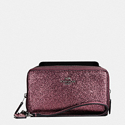COACH F53646 Double Zip Phone Wallet In Glitter Fabric ANTIQUE NICKEL/METALLIC CHERRY