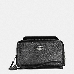 COACH F53646 Double Zip Phone Wallet In Glitter Fabric SILVER/BLACK