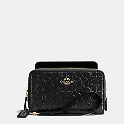 COACH F53647 Double Zip Phone Wallet In Signature Debossed Patent Leather IMITATION GOLD/BLACK