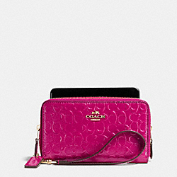 COACH F53647 Double Zip Phone Wallet In Signature Debossed Patent Leather IMITATION GOLD/CRANBERRY