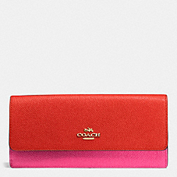 COACH F53652 Soft Wallet In Colorblock Leather LIGHT GOLD/CARMINE/DAHLIA