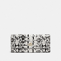 SOFT WALLET IN COLORBLOCK EXOTIC EMBOSSED LEATHER - f53654 - LIGHT GOLD/BLACK