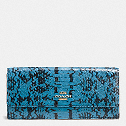 COACH F53654 Soft Wallet In Colorblock Exotic Embossed Leather LIGHT GOLD/NAVY