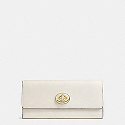 COACH F53663 Turnlock Slim Envelope Wallet In Smooth Leather LIGHT GOLD/CHALK