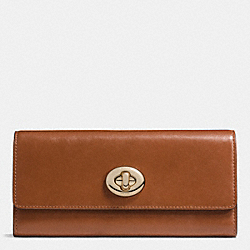 COACH F53663 Turnlock Slim Envelope Wallet In Smooth Leather LIGHT GOLD/SADDLE