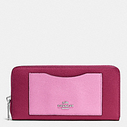 COACH F53678 Accordion Zip Wallet In Colorblock Crossgrain Leather SILVER/CYCLAMEN/MARSHMALLOW