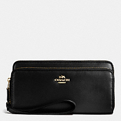 COACH F53680 Double Accordion Zip Wallet In Smooth Leather IMITATION GOLD/BLACK