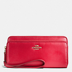 COACH F53680 Double Accordion Zip Wallet In Smooth Leather IMITATION GOLD/CLASSIC RED