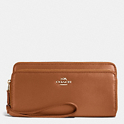 COACH F53680 Double Accordion Zip Wallet In Smooth Leather IMITATION GOLD/SADDLE