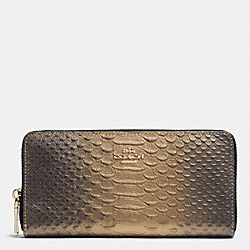 COACH F53681 Accordion Zip Wallet In Metallic Snake Embossed Leather IMITATION GOLD/GOLD