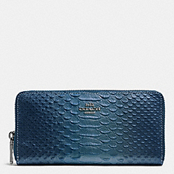 COACH F53681 Accordion Zip Wallet In Metallic Snake Embossed Leather ANTIQUE NICKEL/METALLIC BLUE