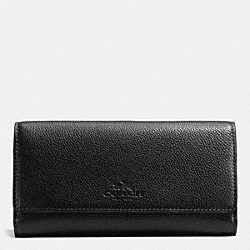 COACH F53708 Trifold Wallet In Pebble Leather IMITATION GOLD/BLACK