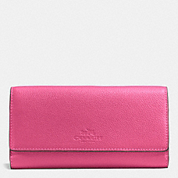 COACH F53708 Trifold Wallet In Pebble Leather IMITATION GOLD/DAHLIA