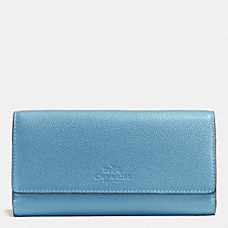 COACH F53708 Trifold Wallet In Pebble Leather IMITATION GOLD/BLUEJAY