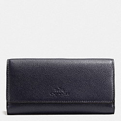 COACH F53708 Trifold Wallet In Pebble Leather IMITATION GOLD/MIDNIGHT