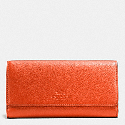 COACH F53708 Trifold Wallet In Pebble Leather IMITATION GOLD/PEPPERPER