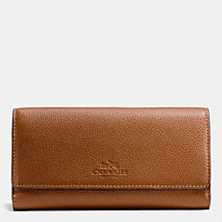 COACH F53708 Trifold Wallet In Pebble Leather IMITATION GOLD/SADDLE