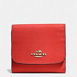 COACH F53716 Small Wallet In Crossgrain Leather LIGHT GOLD/CARMINE