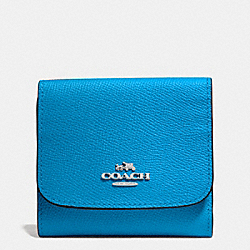 COACH F53716 Small Wallet In Crossgrain Leather SILVER/AZURE