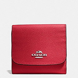 COACH F53716 Small Wallet In Crossgrain Leather SILVER/TRUE RED