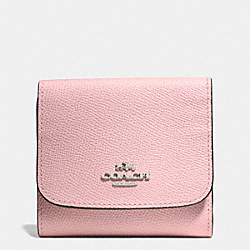 COACH F53716 Small Wallet In Crossgrain Leather SILVER/PETAL