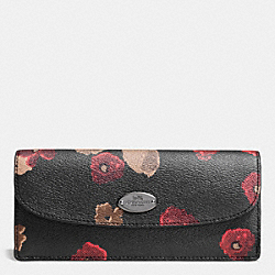 COACH F53730 Soft Wallet In Black Floral Coated Canvas ANTIQUE NICKEL/BLACK