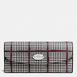 COACH F53731 Soft Wallet In Glen Plaid Coated Canvas SILVER/BLACK