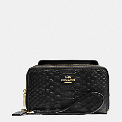 COACH F53733 Double Zip Phone Wallet In Snake Embossed Leather LIGHT GOLD/BLACK