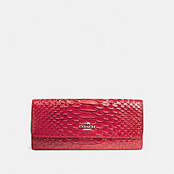 COACH F53734 Soft Wallet In Snake Embossed Leather SILVER/TRUE RED