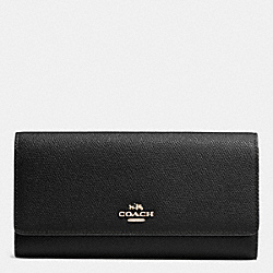 COACH F53754 Trifold Wallet In Crossgrain Leather LIGHT GOLD/BLACK