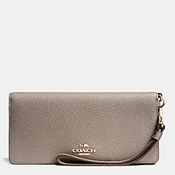 COACH F53759 Slim Wallet In Colorblock Leather LIGHT GOLD/FOG MULTI