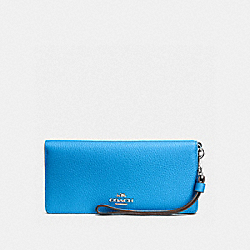 COACH F53759 Slim Wallet In Colorblock Leather SILVER/AZURE/NAVY