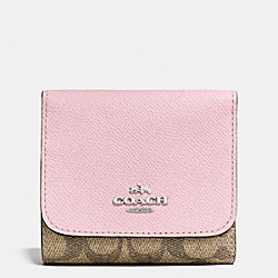 COACH F53762 Small Wallet In Colorblock Signature SILVER/KHAKI/PETAL