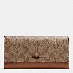 COACH F53763 Trifold Wallet In Signature IMITATION GOLD/KHAKI/SADDLE