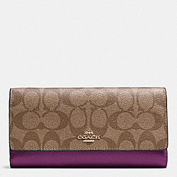 COACH F53763 Trifold Wallet In Signature IMITATION GOLD/KHAKI/PLUM