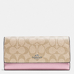 COACH F53763 Trifold Wallet In Signature SILVER/LIGHT KHAKI/PETAL