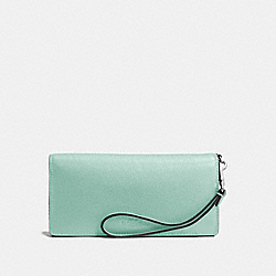 COACH F53767 Slim Wallet In Pebble Leather SILVER/SEAGLASS