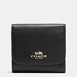 COACH F53768 Small Wallet In Crossgrain Leather IMITATION GOLD/BLACK