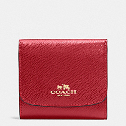 COACH F53768 Small Wallet In Crossgrain Leather IMITATION GOLD/TRUE RED