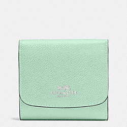 COACH F53768 Small Wallet In Crossgrain Leather SILVER/SEAGLASS