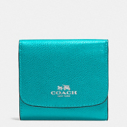 COACH F53768 Small Wallet In Crossgrain Leather SILVER/TURQUOISE